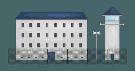 vector illustration of  prison jail building. Justice and Prison system concept