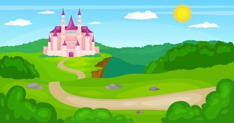 vector illustration of Fairytale landscape with pink princess magic castle