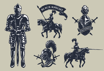 Set of medieval knights, mounted knights. Wall mural