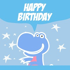 Cute dinosaur cartoon character for birthday card design template