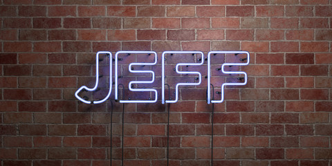 JEFF - fluorescent Neon tube Sign on brickwork - Front view - 3D rendered royalty free stock picture. Can be used for online banner ads and direct mailers..