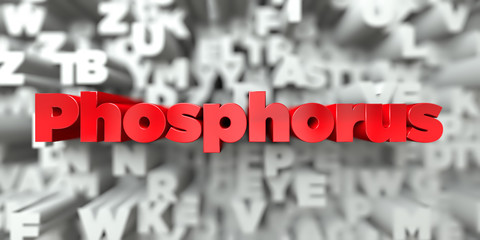 Phosphorus -  Red text on typography background - 3D rendered royalty free stock image. This image can be used for an online website banner ad or a print postcard.