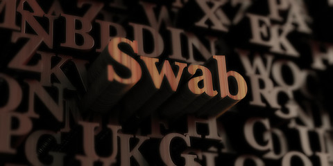 swab - Wooden 3D rendered letters/message.  Can be used for an online banner ad or a print postcard.
