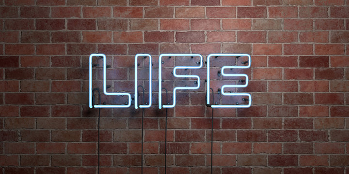 LIFE - fluorescent Neon tube Sign on brickwork - Front view - 3D rendered royalty free stock picture. Can be used for online banner ads and direct mailers..