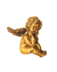 Cupid statue isolated on white background