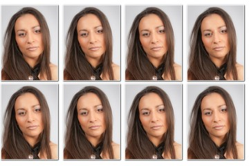 Photographs of a beautiful woman for an identity card