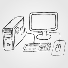 Computer. Hand-drawn sketch. System unit, liquid crystal monitor, keyboard, mouse. Vector illustration. For companies related to computer services.