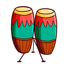 Funny and cute colorful congas musical instrument - vector.
