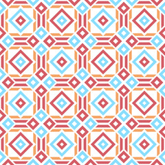 Tribal seamless pattern. Rectangles and lines. Red, blue, orange. Vector illustration.