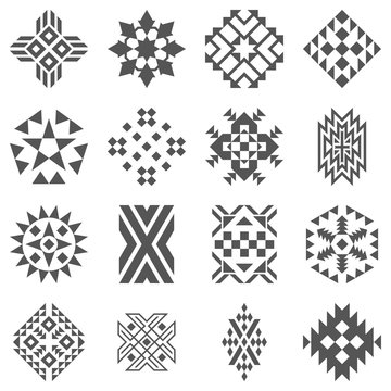 Tribal elements of pattern - aztec black signs on white background. Traditional (native) American Indian patterns set. Folk ornamental textile swatches. Vector illustrations.