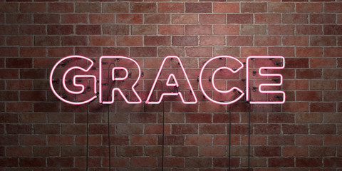 GRACE - fluorescent Neon tube Sign on brickwork - Front view - 3D rendered royalty free stock picture. Can be used for online banner ads and direct mailers..