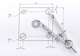 engineering drawing and metal dividers