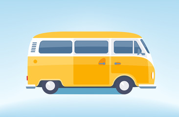Vintage yellow minibus. Tourist coach in flat design.