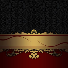 Decorative background with gold border and vintage patterns.