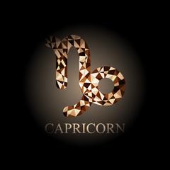 Brown polygonal Capricorn zodiac icon sign symbol vector illustration on black background