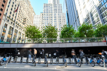 Commute city bikes parked outside office buildings in New York