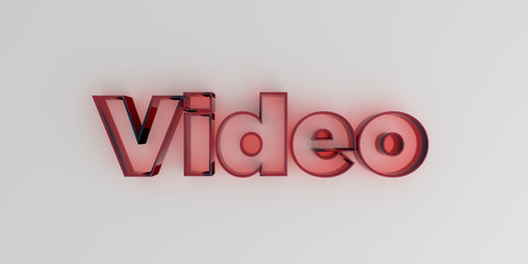 Video - Red glass text on white background - 3D rendered royalty free stock image.
