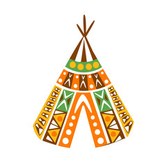 Wigwam Hut With Decorative Pattern Textile, Native Indian Culture Inspired Boho Ethnic Style Print