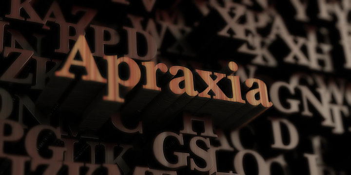 Apraxia - Wooden 3D rendered letters/message.  Can be used for an online banner ad or a print postcard.