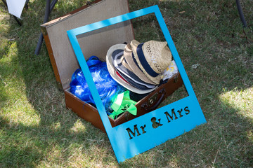 Hats and frames are ready to make a photobooth during party or celebration