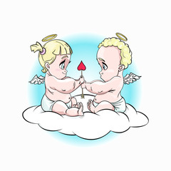 Chibi cute little cupids fall in love on a cloud