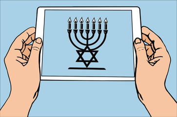The most important symbol in the religion of Judaism - the menorah, blue sun rays, vector