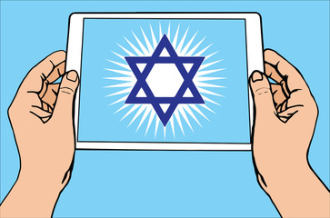 The most important symbol in the religion of Judaism -  the Sun Star Of David, , tablet, blue sun rays, vector