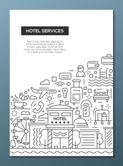 Hotel Services - line design brochure poster template A4