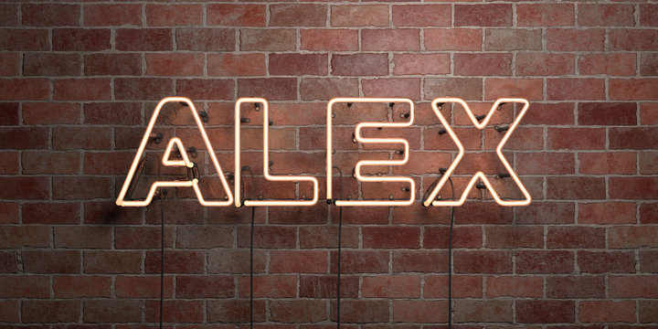 ALEX - fluorescent Neon tube Sign on brickwork - Front view - 3D rendered royalty free stock picture. Can be used for online banner ads and direct mailers..