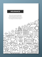 Insurance - line design brochure poster template A4