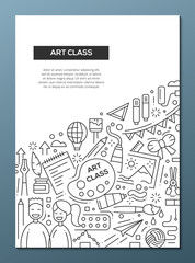 Art Class - line design brochure poster template A4