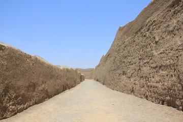 Walls of Chan Chan in Peru