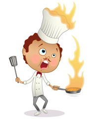 Cartoon chef cooking a flambe with his hat in flames