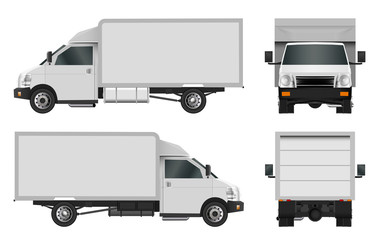 White truck template. Cargo van Vector illustration eps 10 isolated on white background. City commercial car delivery service.