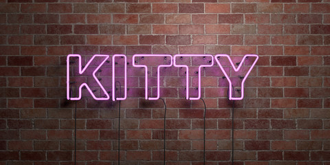 KITTY - fluorescent Neon tube Sign on brickwork - Front view - 3D rendered royalty free stock picture. Can be used for online banner ads and direct mailers..