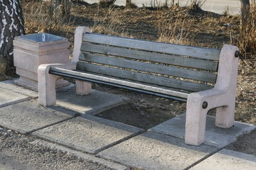 Bench for rest on the street.