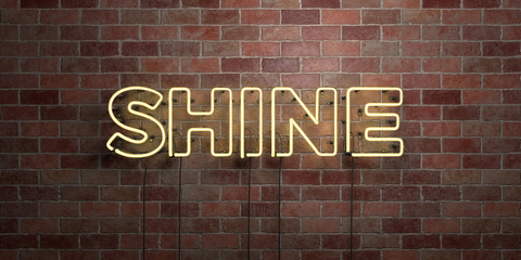 SHINE - fluorescent Neon tube Sign on brickwork - Front view - 3D rendered royalty free stock picture. Can be used for online banner ads and direct mailers.. Wall mural