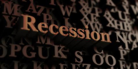 Recession - Wooden 3D rendered letters/message.  Can be used for an online banner ad or a print postcard.