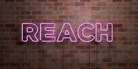 REACH - fluorescent Neon tube Sign on brickwork - Front view - 3D rendered royalty free stock picture. Can be used for online banner ads and direct mailers..