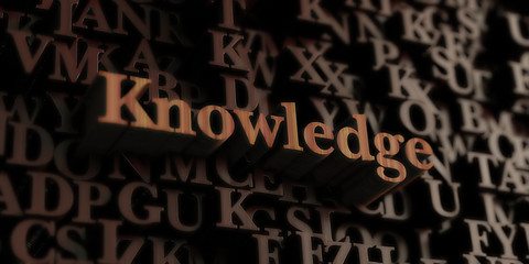 Knowledge - Wooden 3D rendered letters/message.  Can be used for an online banner ad or a print postcard.