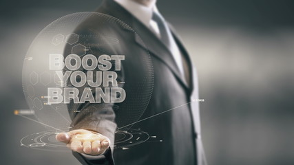 Boost Your Brand Businessman Holding in Hand New technologies