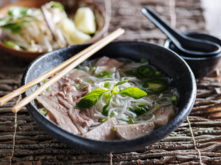 vietnamese pho with marble brisket