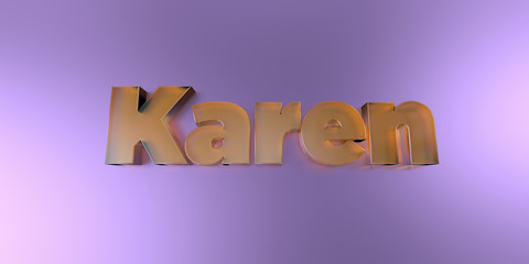 Karen - colorful glass text on vibrant background - 3D rendered royalty free stock image.