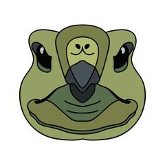 Vector simple cartoon turtle face with black stroke zoo icon