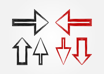 Vector set of pointers. Three isolated arrow icons. Black and red version.