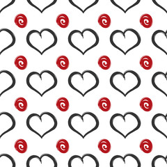 Repeated squiggles and hearts. Seamless pattern. Vector illustration.