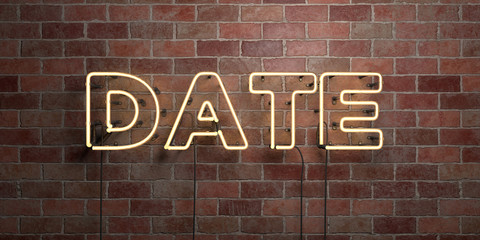 DATE - fluorescent Neon tube Sign on brickwork - Front view - 3D rendered royalty free stock picture. Can be used for online banner ads and direct mailers..