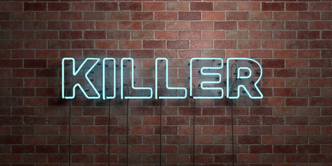 KILLER - fluorescent Neon tube Sign on brickwork - Front view - 3D rendered royalty free stock picture. Can be used for online banner ads and direct mailers..