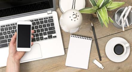 top view office desk header for responsive design
