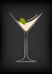 A glass of vermouth on a black background
